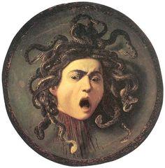 카라바지오, 메두사, 1596-1598, 우피치 미술관.     목이 잘린 메두사의 모습을 캔버스에 유화로 그린 뒤 나무 방패에 붙인 것이다.