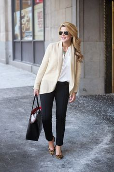 I have a similar blouse, just need the cardi and leggings. This would be great for work.