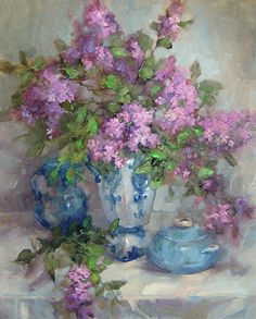 Penny's-Lilacs by Barbara Schilling Oil ~ 24 x 20