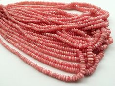 Rhodochrosite Plain Rondelle Beads Natural by gemsforjewels