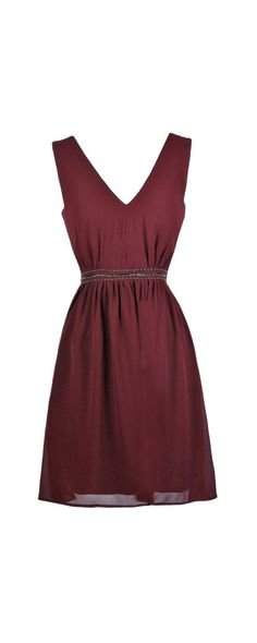 Lily Boutique Touch of Trim Embellished A-Line Dress in Burgundy, www.lilyboutique.com