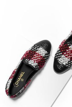 Mocassins, tweed & veau-bordeaux, blanc & noir - CHANEL