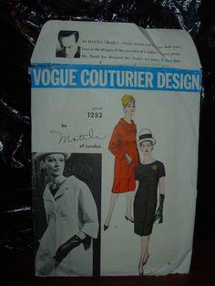 >>>> VOGUE COUTURIER DESIGN  DRESS PATTERN...1252 BY  JO MATTLI..,<<<<<<<
