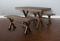 """SD-0222AC-T and SD-0222AC-SB - 50"""" x 34"""" Savannah Rustic Table and Two Cushioned Side Benches"""