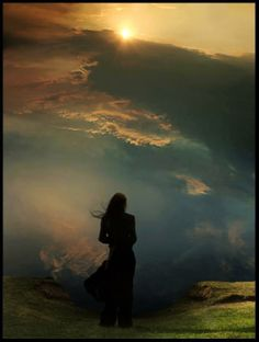Girl against stormy sky silhouette All Nature, Middle Earth, Infj, Sunsets, Serenity, The Darkest, Sunrise, Virginia Woolf, In This Moment