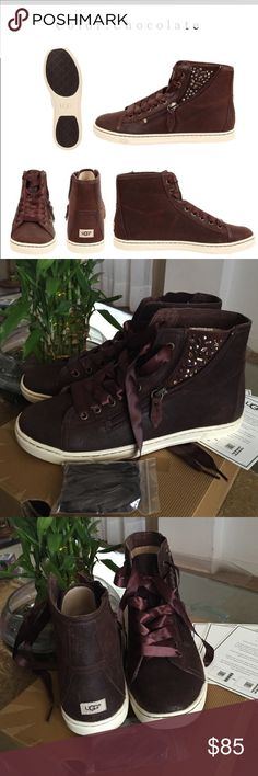 NEW UGG HIGH TOPS. Brand new women's  ugg high tops CHOCOLATE. Original box. Extra laces!!! UGG Shoes Sneakers