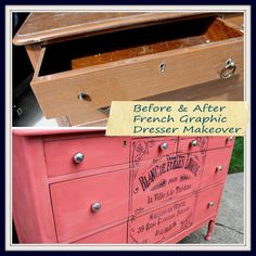 Fabulous French Graphic and Colorful Coral Dresser Makeover (Hometalk)