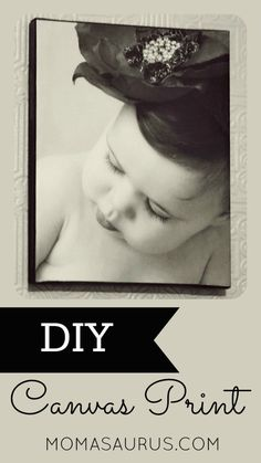 DIY photo canvas. Inexpensive & Easy to make. Post includes video tutorial. Great mothers day gift idea. Momasaurus.com