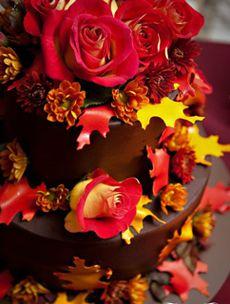 Chocolate fall wedding cake. Omgosh that looks delicious <3