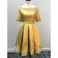 Cheap Short Party Prom Dress Easy Yellow Party Dresses With Bateau Applique Dresses