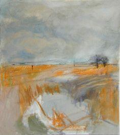 'Ochre Landscape', Janine Baldwin, oil and charcoal on canvas, 34 x 30cm www.janinebaldwin.co.uk