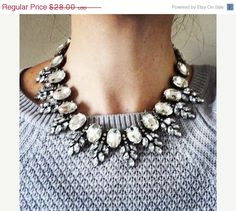 Hey, I found this really awesome Etsy listing at https://www.etsy.com/listing/213683432/on-sale-clear-rhinestone-statement