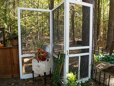 screen doors on hinges.  Lighter than solid wood and you can hang things in the screen holes