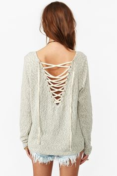 low v back lace up sweater - DIY for black VS sweater, now at the bottom