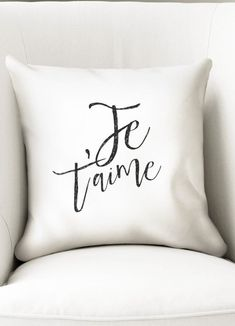 Only 2 left! This pillow includes the words je taime which means I love you in french. Designed with a beautiful font, it will make a great gift for a girlfriend or boyfriend.  It closes with a zipper and measures 35cm (almost 14). The cover is made of microfiber polyester (soft feel).