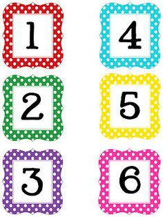 Multi Polka Dot Numbers Printable