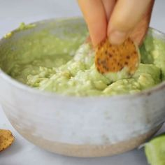 Avocado lime dip ready in two minutes! Vegan avocado guacamole dip, perfect dip for veggie sticks, crackers, and chips. Easy paleo and side dish. Guacamole Dip, Guacamole Recipe, Avocado Dip, Homemade Guacamole, Dip Recipes, Vegan Recipes, Cooking Recipes, Cooking Ribs, Easy Meal Prep