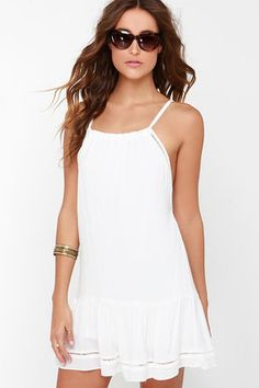 Pretty Ivory Dress - Strappy Dress - Sundress - White Dress - $54.00