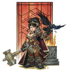 A_female_dwarf- war-hammer and patterns Dark Fantasy, Fantasy Dwarf, Fantasy Female Warrior, Fantasy Rpg, Medieval Fantasy, Fantasy Portraits, Character Portraits, Dnd Characters, Fantasy Characters