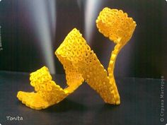 Поделка, изделие Квиллинг: Жёлтая туфелька Бумажные полосы. Фото 1