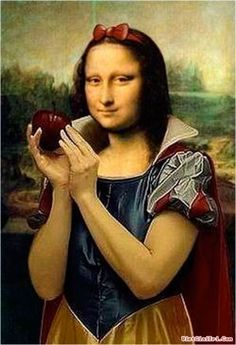 This makes us laugh because we know that its snow white and Mona Lisa mixed together. They kept Mona Lisa's face but they changed the dress to the snow white dress. This is a incongruity theory because its two or more things collaborating together. Le Sourire De Mona Lisa, Lisa Gherardini, Mona Lisa Parody, Mona Lisa Smile, Italian Artist, Art Plastique, Funny Art, Oeuvre D'art, Art History