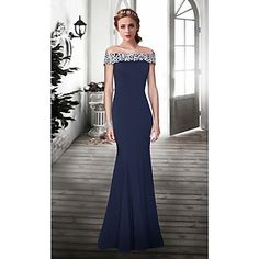 Formal Evening Dress Trumpet/Mermaid Off-the-shoulder Floor-length Lace Dress – USD $ 129.99