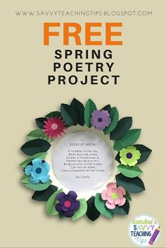 FREE!! EXCELLENT ELA and ART activity for spring. (and cute too!) Creative and easy Spring poetry activity for Primary Grades. https://www.teacherspayteachers.com/Product/Spring-Poetry-1799778