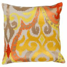 Cotton pillow with a multicolor ikat motif.   Product: PillowConstruction Material: CottonColor: Golden yellow and poppy redFeatures:  Made in IndiaInsert included  Cleaning and Care: Blot stains immeadiately. Dry clean cover.
