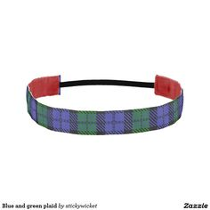 Blue and green plaid athletic headbands