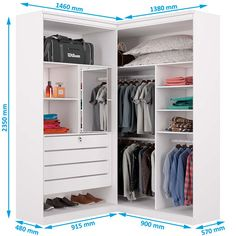 Guarda-Roupa Casal de Canto 4 Portas e 4 Gavetas Viena - Moveis Europa - Branco acetinado Corner Wardrobe Closet, Wardrobe Design Bedroom, Bedroom Wardrobe, Bedroom Decor, Double Wardrobe, Bedroom Bed, White Bedroom, Closet Layout, Small Space Interior Design