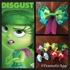 Disney Pixar's Inside Out, meet Disgust! Flowers are hand painted! @mindykaling #disgust #disney #pixar #hairbows #hairbow #missmbowtique #missmaegansbowtique #insideout @disneystudios @missmbowtique