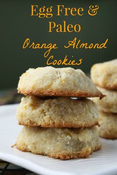 Grain Free Orange Almond Cookies w/ The Healthy Gluten Free Life Giveaway - Food Easy Father Cookies Sans Gluten, Dessert Sans Gluten, Paleo Cookies, Paleo Dessert, Healthy Desserts, Orange Recipes Healthy, Gluten Free Almond Cookies, Almond Flour Cookies, Paleo Baking