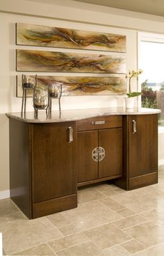 Custom Side Buffet With Serpentine Countertop Chris Riddle Kitchen Remodel Kirkland Contemporary