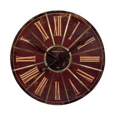 Large Red Wall Clock: Savor the vintage design of this attractive home accent that's sure to blend flawlessly with any traditional home decor. Beautifully weathered with a generous clock face, this wall clock makes it easy to decorate with style. Red Wall Clock, Big Wall Clocks, Marsala, Oversized Clocks, Tabletop Clocks, How To Make Wall Clock, Classic Home Decor, Clock Decor, Wall Decor