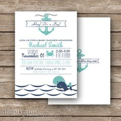 Nautical Baby Boy Shower Invitation Whale Theme Baby Shower by SimplyPutPrintables