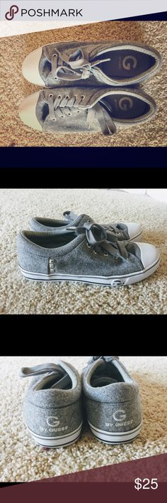 Women's Felt G by Guess Studded Sneakers Size 8 Cute little pair of G by Guess studded gray tennis shoes. Worn a handful of times but still in pretty good condition. G by Guess Shoes Sneakers