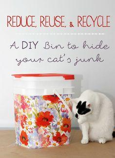 DIY bin to hide cat food, World's Best Cat Litter #WasteLessLitter #ad