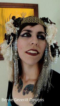 Mucha II Tribal Fusion Bridal Head dress for bellydance. via Etsy.