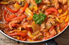 schab po bałkańsku z papryką czerwoną i żółtą Polish Recipes, Polish Food, Thai Red Curry, Pork, Food And Drink, Brunch, Ethnic Recipes, Sweet, Per Diem