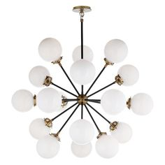 Shop for Visual Comfort S Ian K. Fowler Modern Bistro Medium Round Chandelier in Hand-Rubbed Antique Brass and Black with White Glass at Foundry Lighting Round Chandelier, Large Chandeliers, Globe Chandelier, Chandelier Ceiling Lights, Hanging Chandelier, Linear Chandelier, Ceiling Fans, Architecture Restaurant, Image Transparent