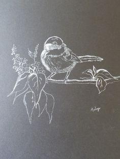 White pencil on black paper