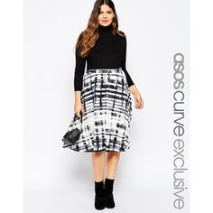 ASOS CURVE Midi Skirt in Sketchy Check ($38) ❤ liked on Polyvore featuring skirts, plus size, print, elastic waist skirt, white midi skirt, tall skirts, midi skirt and print midi skirt