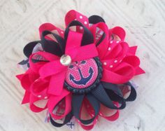 Sailor flower bow,loopy bow,loopy hairbow,loopy puff bows,loopy flower bow,hairbow,hair accessories,hair bow,hair clip,boutique hairbows,