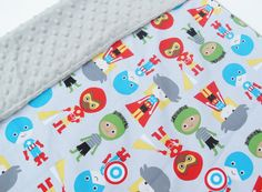 Receiving Blanket - Newborn Baby SuperHero Cotton Fabric backed with Super soft Minky - Perfect baby gift idea by homemadebylittleme on Etsy https://www.etsy.com/listing/244424704/receiving-blanket-newborn-baby-superhero