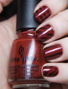 "China Glaze ""Brownstone"" and Illamasqua ""Scarab"" stripes"