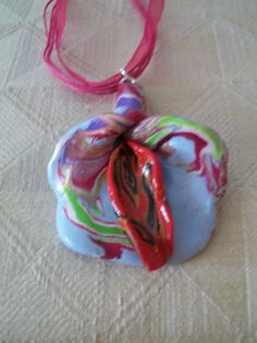 """Lt Blue/Red Lily 2""""x2 1/2"""" Necklace 18"""". $6.00, via Etsy."""