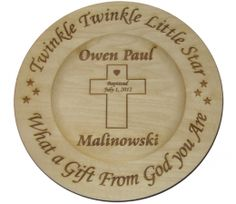 Wooden Baptism Plate, to remember that special day; www.giftsbynancyk.com
