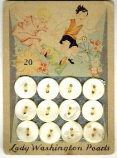 "(::)  ""Lady Washington Pearls"" ligne size ""20"", from (American Pearl Button Co. 1908-1965 of Washington, Iowa) Children happily frolicking amid the flowers!   {Thanks extended to kaboodle for the image. Research & original description by DiaNNe W. - ""Vintage Button Cards (::) CHILDREN"""