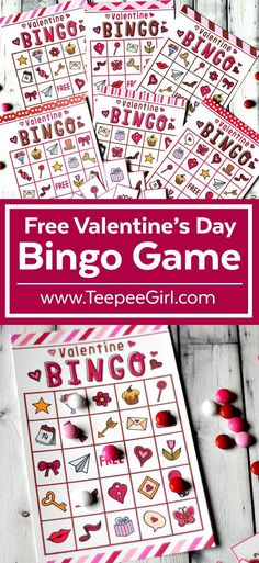 This free Valentine's Day Bingo printable game is perfect for all your Valentine's Day parties! Use it for your kid's school party, playdates, and your own family Valentines party! Get it today at www.TeepeeGirl.com.