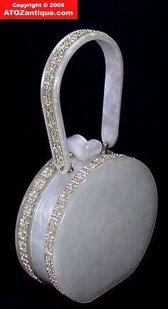 Wilardy Art Deco White Lucite Purse w/ Rhinestone